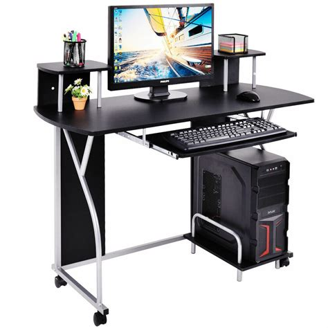 black rolling computer desk pc laptop desk pull out tray home office workstation ebay