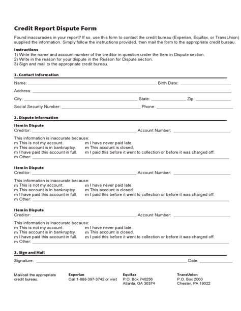 credit report dispute form template free