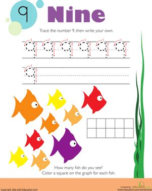 tracing numbers amp counting 9 worksheet education 195   tracing numbers counting 9 writing