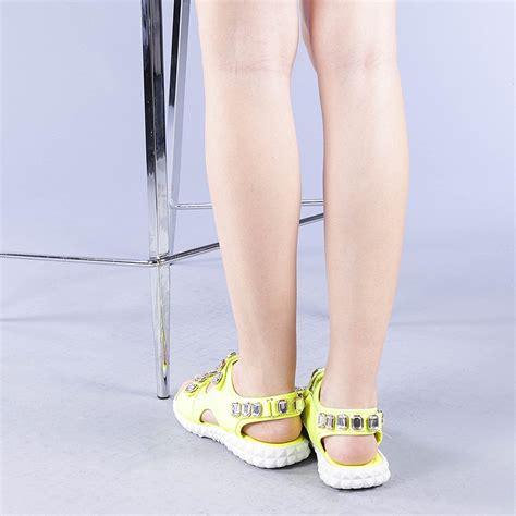 Sandale dama Luminita galbene - Livrare Gratuita ...