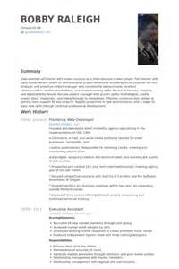 freelance web designer resume freelance web developer resume sles visualcv resume sles database