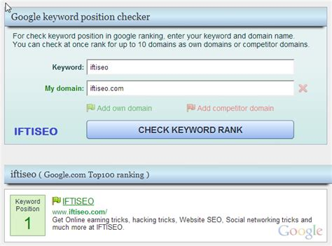 Keyword Ranking - how to check keyword ranking of any post iftiseo