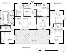 Plan Maison Plain Pied 4 Chambres Avec Suite Parentale by Plan Maison De Plain Pied 140 M 178 Ooreka