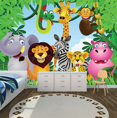 Wallpaper With Animals For Rooms - jungle theme wallpaper for wallpapersafari