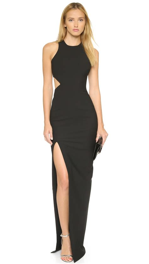 plain cutout dress lyst elizabeth and guilia dress black in black