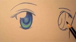 How to draw and color female anime eyes - YouTube