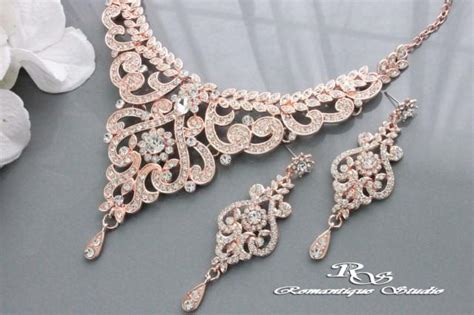 Wedding Jewelry Sets For Brides : Rose Gold Wedding Jewelry Set, Vintage Style Bridal