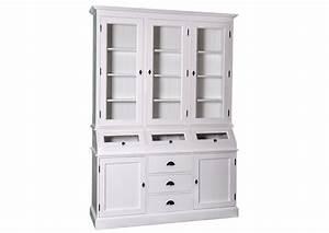 Vaisselier En Pin : acheter votre vaisselier en pin massif 2 tiroirs blanc 1 porte vitr es chez simeuble ~ Teatrodelosmanantiales.com Idées de Décoration