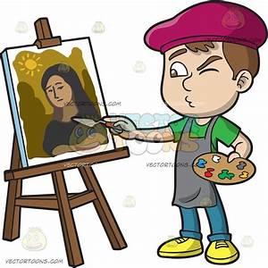 A Boy Painting A Portrait Cartoon Clipart - Vector Toons