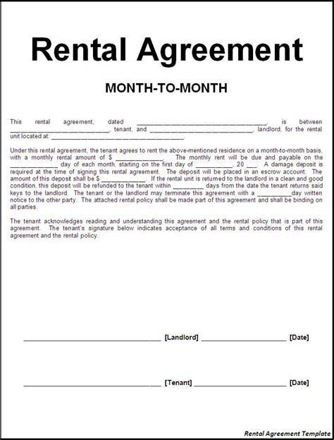 rental lease agreement templates rental agreement template word excel formats Free