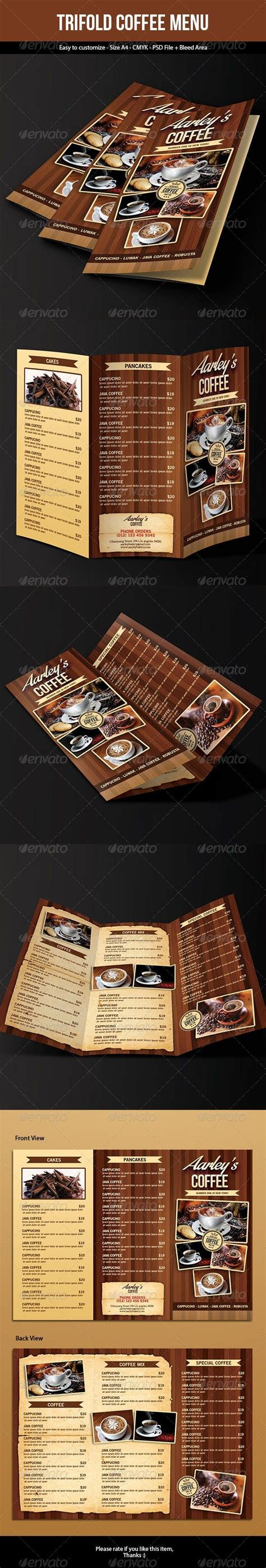 You can get all these by choosing the right theme for your coffee shop. Coffee Menu (Trifold)   Coffee menu, Food menu template, Restaurant menu design