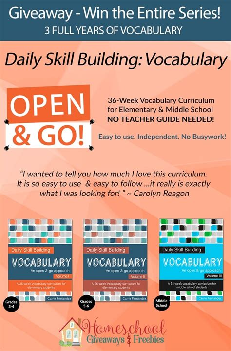 Giveaway Win The Entire Series Of Daily Skill Building Vocabulary (3 Full Years