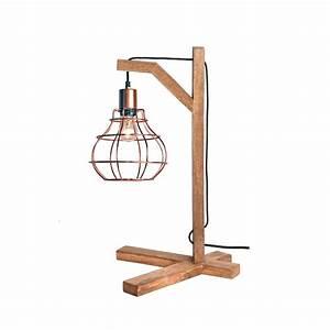 Lampe à Poser Cuivre : lampe poser bois et cuivre dom label51 drawer ~ Dailycaller-alerts.com Idées de Décoration