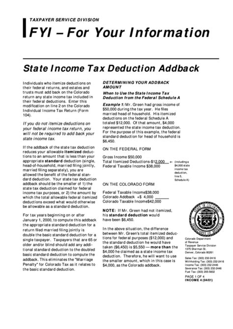 State Income Tax Deduction Addback Form printable pdf download