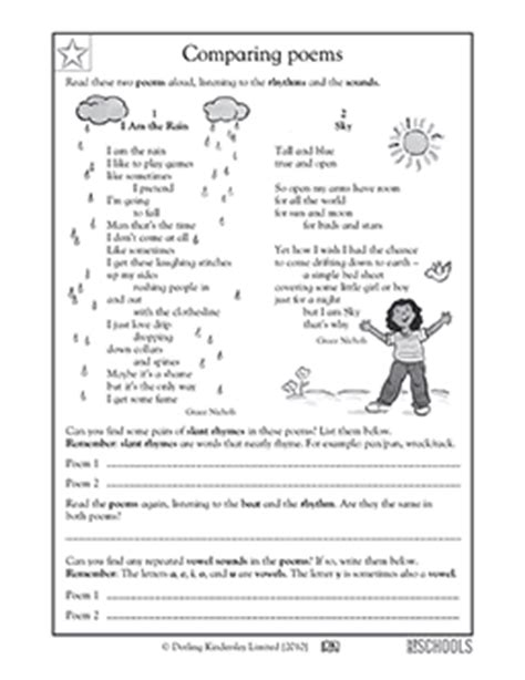 comparing poems worksheet 5th grade reading worksheets poems comparing greatschools