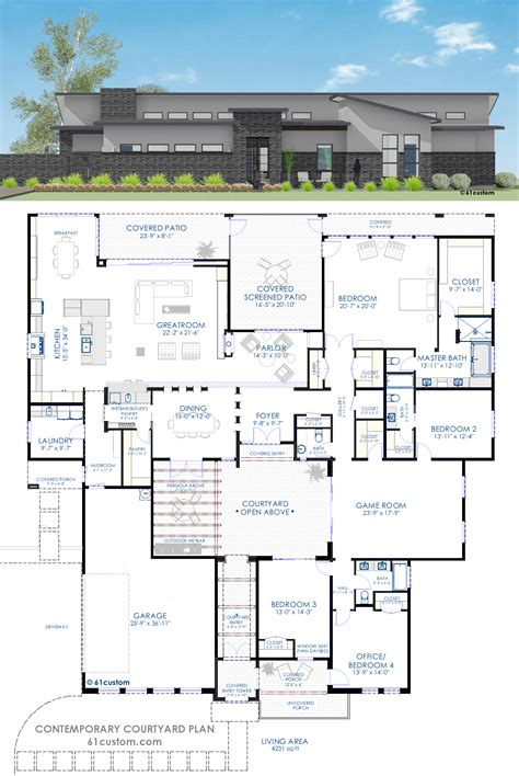 home blue prints contemporary courtyard house plan 61custom modern