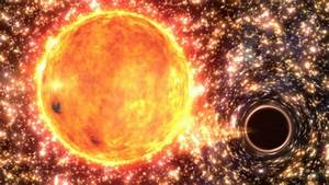Black hole wakes to planet-sized breakfast