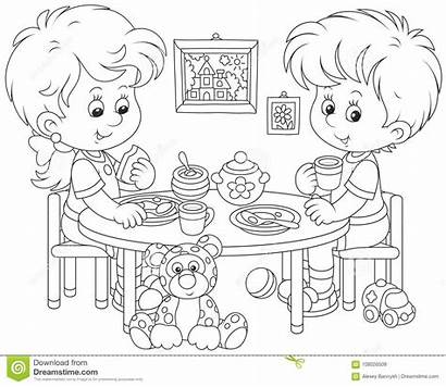 Eating Table Clipart Breakfast Cartoon Coloring Children