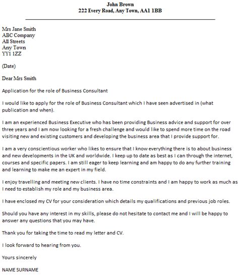 Best Consulting Cover Letters by Business Consultant Cover Letter Exle Icover Org Uk