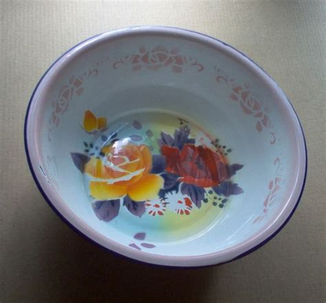 Vintage enameled metal bowl, butterfly brand, old dishpan