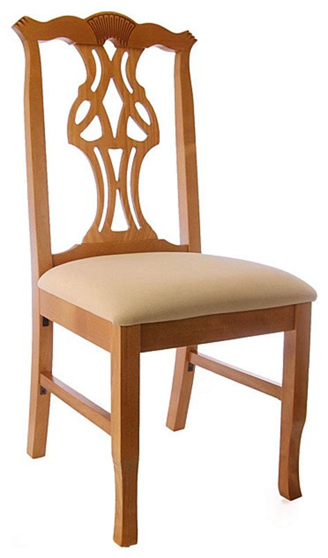 honey oak wood chippendale side chair contemporary