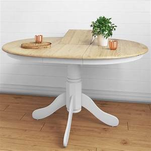 Extendable, Round, Wooden, Dining, Table, In, White, Natural