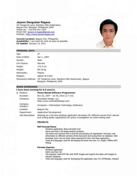 resume sle for abroad best resume gallery