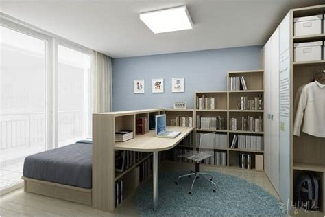 bedroom home office combo divided  bookcase home