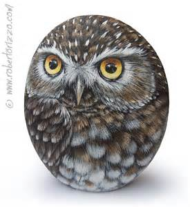 Painted Owl Rock On Hand