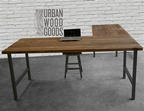 metal table l shades l shaped desk with reclaimed wood top and square steel legs