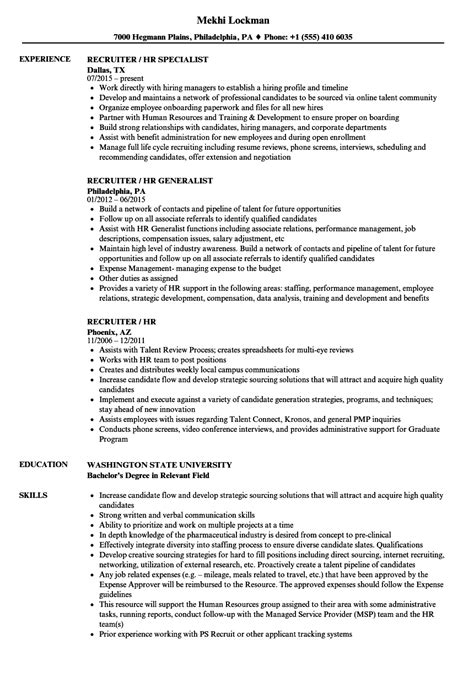 Recruiter / HR Resume Samples | Velvet Jobs