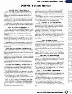 2016-17 UCO Women's Basketball Media Guide