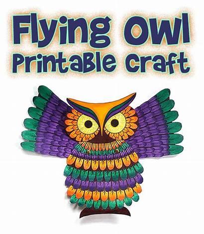 Owl Printable Craft Puppet Flying Pattern Patterns