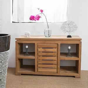 Commode 120 Cm : meuble commode buffet salle de bain en teck massif 120 cm ~ Teatrodelosmanantiales.com Idées de Décoration