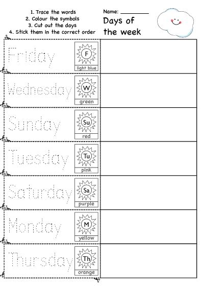 days of the week colour cut and rearrange worksheet