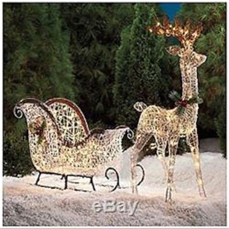 pre lit lighted reindeer sleigh santa buck