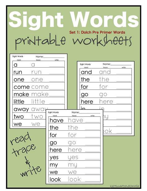 just sweet and simple preschool practice printable dolch site word worksheets school