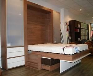 Lit Avec Armoire : lit escamotable avec banquette lit meuble escamotable efutoncovers ~ Teatrodelosmanantiales.com Idées de Décoration