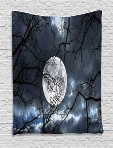 Full Moon in Forest Winter Season Mystical Twilight Image ...