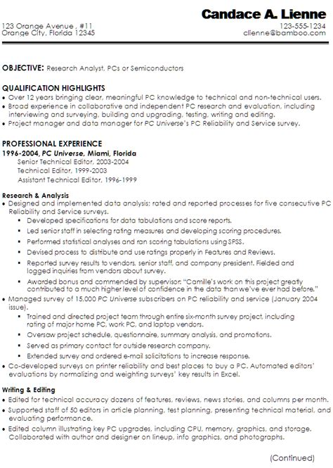 Free Resume Writer Service by Sle Resume For A Technical Writer Or Research Analyst