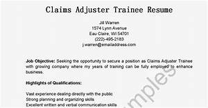 Resume samples claims adjuster trainee resume sample for Insurance claims adjuster training