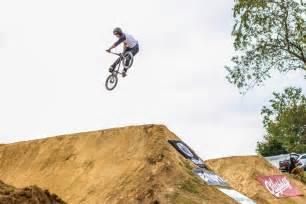 Double Cross Two Riders Race Thru Bmx Dirt Jumps