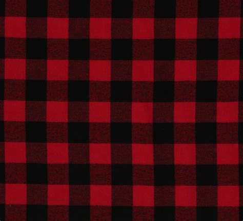 "Flannel Buffalo Plaid 125"" Buffalo Check Red Black Woven"