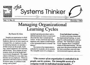 The Systems Thinker  U2013 Managing Organizational Learning