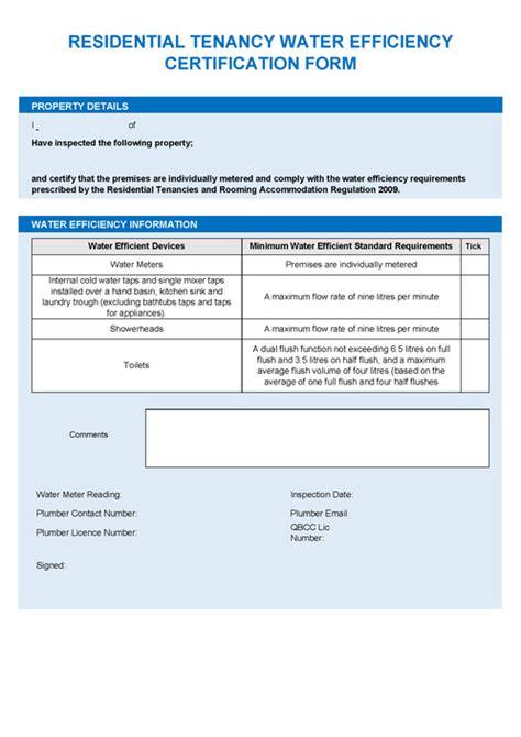Water Efficiency Certificate Template Residential Tenancy Water Efficiency Certification Form