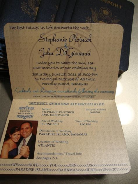1st page of passport invite my official wedding decore