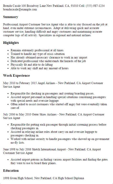 airport customer service agent resume templates    myperfectresume