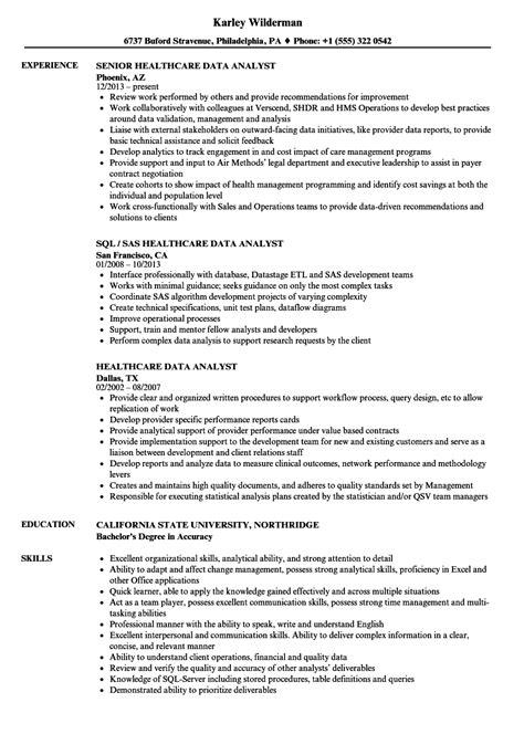 Sql Analyst Resume by Healthcare Data Analyst Resume Sles Velvet