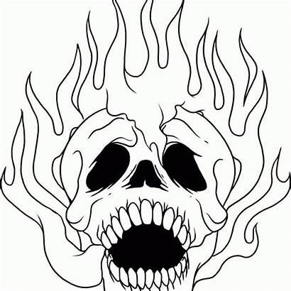Skull Coloring Pages Sugar Drawing Flames Skeleton