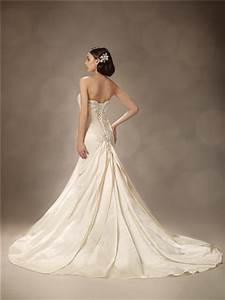 trumpet mermaid sweetheart court train ivory satin wedding With satin trumpet wedding dress